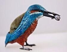 Vienna Austrian Cold Painted Bronze Blue Kingfisher Bird & Fish Signed Geschutzt