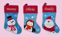 Personalised Kids Luxury Embroidered Xmas Stocking Blue Christmas 2018