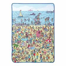 WHERES WALDO Beach FLEECE Blanket 45 x 60 Throw SHERPA LINED Martin Handford