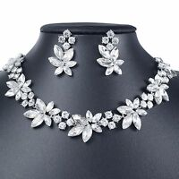 YT278 Clear Rhinestone Crystal Earrings Necklace Set Bridal Party Gift