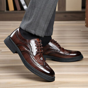 Mens Brogue Carved Pointy Toe Lace Up Oxfords Business Casual Office Dress Shoes