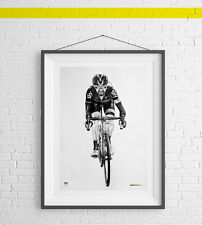 Bradley Wiggins Art Print Poster Cycling Drawing gift