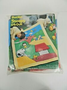 """Bucilla Snoopy Crib Quilt """"Easy To Make As ABC"""" Made in USA 33"""" x 42"""""""