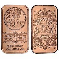 Lot of 100 - 1 oz Copper Bars Walking Liberty