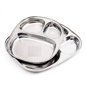 Stainless Steel Three Compartment Plate Dinner Plate Set Of 2 Pieces
