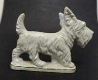 8ma24 SCOTTIE DOG FIGURINE, PORCELAIN, MADE IN JAPAN c 1940-50s