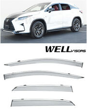 WellVisors Side vents Window Visors W/ Chrome Trim For 16-Up Lexus RX350 RX450h