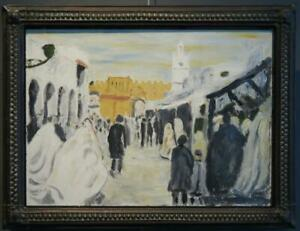Unusual MID 20th CENTURY Oil painting - Continental Street Scene COPPER FRAME