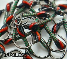 Barbless Green Holographic Quill Buzzers size 12 (Set of 3) Fly Fishing Flies
