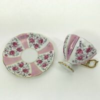 FRED ROBERTS COMPANY TEACUP SAUCER Vintage Pink Rose China Gold Trim Cup Set