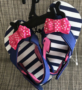 Infant Toddler Girls Beach Sandals Flip Flops Bow Accent 2, 4, 5, 6,
