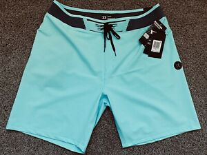 $100 - BRAND NEW HURLEY PHANTOM MENS BOARD SHORTS HYPERWEAVE AQUA BLUE 33  x 18