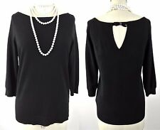 Black/White Knit sweater top blouse Bow in Back L Simple Wear to work NWT