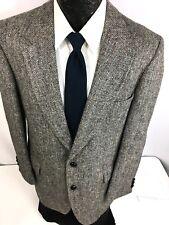 HARRIS TWEED Men's Gray HERRINGBONE Sport Coat Jacket SCOTTISH Wool  Blazer 42 L
