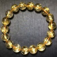 10.7mm Natural Gold Rutilated Quartz Stretch Crystal Beads Bracelet