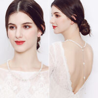 EG_ LC_ Elegant Charm Faux Pearl Necklace Back Chain Wedding Party Women Jewelry