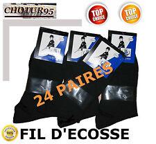 24 PAIRES DE CHAUSSETTES EN FIL D'ECOSSE NOIRES - 100% COTON MERCERISE