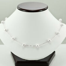 14K WHITE GOLD & WHITE FRESH WATER CULTURED ROUND PEARL NECKLACE 18""