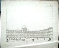 1830 PARIGI VEDUTA DEL PIAZZALE DEL LUOVRE ANIMATO DI AUGUSTE HIBON