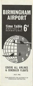 Birmingham Airport Airline Timetable July 1963