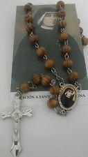 Santa Maria Faustina Rosario de madera con Oracion Saint Mary Faustine Rosary