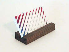 Wood Business Card Holder Handmade Dark Stain Office Desk Display Stand Wooden