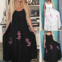 Women Floral Summer Beach Dress Evening Cocktail Party Long Maxi Slip Dress Plus