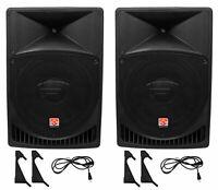 """Pair Rockville Power Gig RPG15 15"""" Powered Active 2000 Watt 2-Way DJ PA Speakers"""