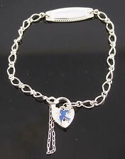 Brand New Solid Sterling Silver Babies Identity Bracelet With Blue Bird Padlock