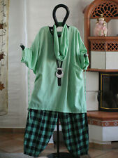 1951 LABASS Lagenlook Baumwoll Shirt mit Schal STRIPES mint grün unifarben EG
