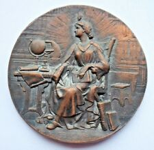ANTIQUE FRENCH / SCIENTIST / ALLEGORY OF SCIENCE BRONZE MEDAL / 46 mm / N122