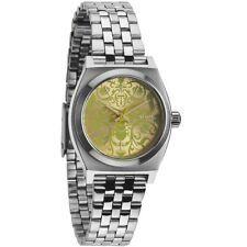 Nixon Small Time Teller Ladies Watch Silver Neon Yellow Beetlep A3991898