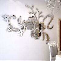 Removable 3D Mirror Flower Wall Sticker DIY Vinyl Decal Acrylic Home Room Decor