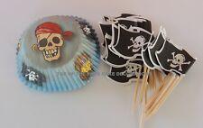 Wilton Pirate 24 baking cups -  24 PIRATE FLAG PICKS Combo CUPCAKE DECORATIONS