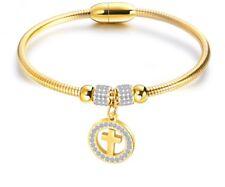"""6.5"""" Women Girl Gold Stainless Steel Magnet Buckle Cross Crystal Bangle Bracelet"""