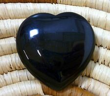 Black Agate Flat Heart ~ 45mm ~ Crystal Healing