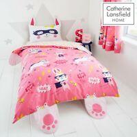 Catherine Lansfield Kids Children Super Bunny Duvet Cover Bedroom Range Pink