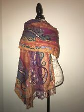 NEW India Kashmir SHAWL Cashmere 100 wool  STOLE women RED scarf Wrap Merino USA