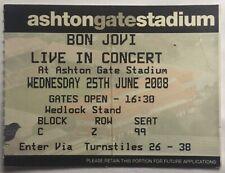Bon Jovi Original Used Concert Ticket Ashton Gate Bristol 2008