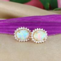 4Ct Oval Cut Fire Opal Diamond Push Back Halo Stud Earrings 14K Yellow Gold Over