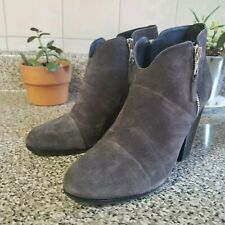 Rag & Bone Designer Margot Asphalt Gray Black heel side Zip Suede Booties 8/38.5