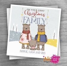 Personalised handmade First 1st Christmas as a family Card, New Baby 'Bears