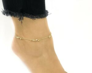 14K TWO-TONE GOLD FANCY DIAMOND CUT BEADS ANKLET ADJUSTABLE 9-10 INCHES