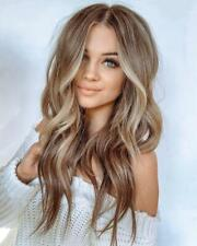 Women's Wavy Wigs Brown Blonde Synthetic Fiber Wigs Party Long Wig Hair