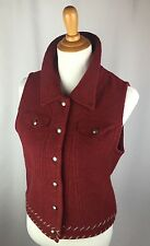 WOOLRICH Women's SMALL Claret Red  Sweater Vest 100% Wool #9145 Silver Snaps