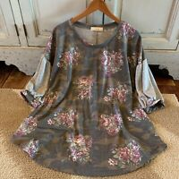 Xl New Boho Camo & Floral Blouse Fall Tunic Top Womens NWT X-LARGE USA MADE