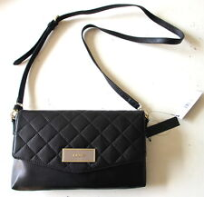 NWT DKNY Quilted Lamb Nappa Leather Crossbody Shoulder Bag/Clutch Black $228 NEW