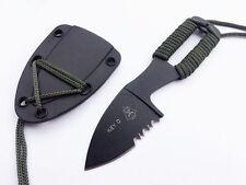 SURVIVAL TACTICAL NECK KNIFE & SHEATH CLONE SERRATED KEY KNIVES