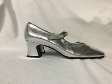 Vintage 60s Shoes Silver Mod Mary Janes Chunky Heels Retro GoGo 6.5