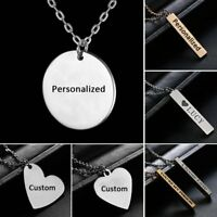 Engraved Personalized Stainless Steel Custom DIY Name Letters Pendant Necklace